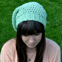 Mint Crocheted Slouch Hat