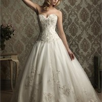 Embroidery And Swarovski Crystals Net With Stain Ball Gown Wedding Dress WD1602