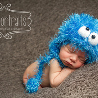 Li'l Blue Monster, Handmade, Knitted, Photo Prop, Made to Order, Birth to 3 Months