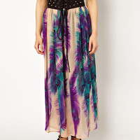Jovonnista Feather Print Maxi Skirt With Leather Look Belt Detail