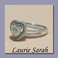 Heart Diamond Engagement with Sapphire Halo by LaurieSarahDesigns