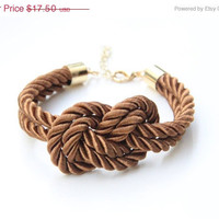ON SALE - 30% OFF - Brown silk cord Knot Bracelet - 24k gold plated