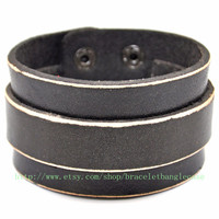 Jewelry bangle leather bracelet men bracelet  women bracelet fashion bracelet made of black leather wrist bracelet  sh-00005