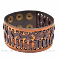 Bangle leather bracelet fashion bracelet woven bracelet men bracelet women bracelet made of brown leather woven wrist bracelet  sh-0020