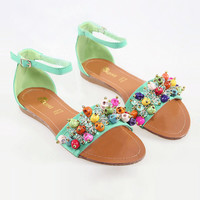 Colored Skull Flat Sandals