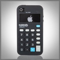 "Black Calculator Retro ""Flexa"" silicone case cover for Apple iPhone 4 4G 4S"