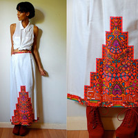Vtg Neon Tribal Bold Printed White Maxi Skirt