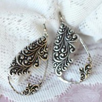 filigree fantasy tear drop earrings