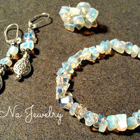 Ring Genuine Moonstone Adjustable, Matching Bracelet and Earrings