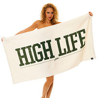 The JSLV Towel High Life Beach Towel in White