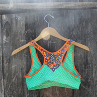RECYCLED SALE. polka dot and floral sports bra I. size XS and S only.