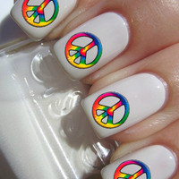 Tie Dye Peace Sign Nail Decals
