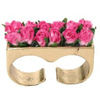 Rose Garden Double Finger Ring - Fushia