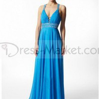 Sheath / Column V-neck Beading Sleeveless Floor-length Chiffon Prom Dresses / Evening Dresses (SZ019408 )