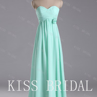 A-line Sweetheart  Sleeveless Floor-length Elegant Chiffon Flower  Prom Dress 2013