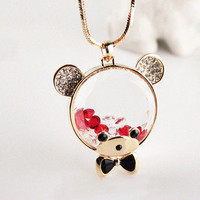 Kawaii Bow Tie Colored Diamond Bear Necklace