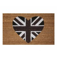 Buy Union Jack Heart Rubber Backed Coir Door Mat