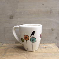 Bird ceramic coffee cup mug gift for the bird by catherinereece