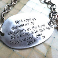 OTH inspirational upcycled spoon charm bracelet with crimson glass beads sterling silver heart charm
