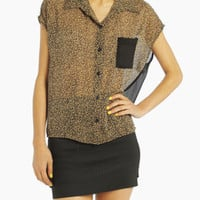 Leopard Print Sheer Pocket Blouse