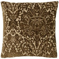 "Brown Vintage Damask 17"" Square Pillow - #G2845 
