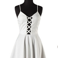 Peek Chic Cutout Dress - White -  $42.00 | Daily Chic Dresses | International Shipping