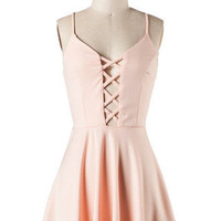 Peek Chic Cutout Dress - Blush -  $42.00 | Daily Chic Dresses | International Shipping