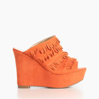 Fringe Wedge Slippers in Coral