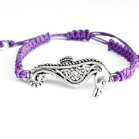 Seahorse Bracelet Hemp Friendship Purple Adjustable