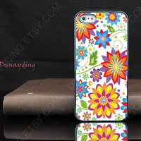 Custom design, flowers color pattern, the leaves and grass  for iphone 4 iphone 5 case