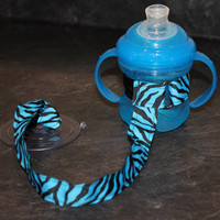 Blue Zebra Sippy Strap with a Suction Cup by ChunksBabyJunk