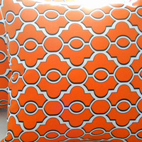 Designer Orange Ogee trellis  pillow cover  18 x 18