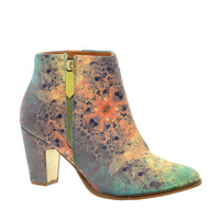 Multicolored Heeled Zip Ankle Boots