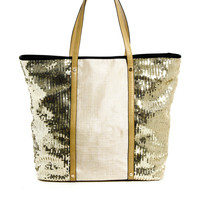 Sequin Panel Beach Tote