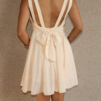 Double Strap &#x27;Alice&#x27; Dress with Tie Back (Cream)