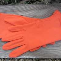 60s Tangerine Wristlet Gloves, 7-7,5 / S-M // Vintage Gloves // Spring Gloves