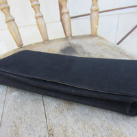 40s Black Velvet Clutch w/ Leather Lining // Vintage Purse // Ges. Gesch. Lock
