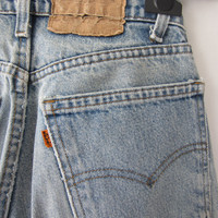 80s Faded Blue Levi&#x27;s Jeans, W27 L28 // Vintage Straight Leg Levis // Distressed Blue Jeans