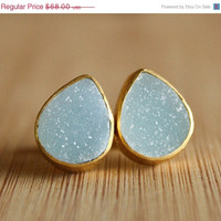 Mothers Day Sale Gold Turquoise Blue Druzy Studs - Gemstone Posts - Ice Blue