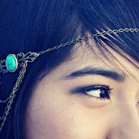 alapop  turquoise/green chain headband