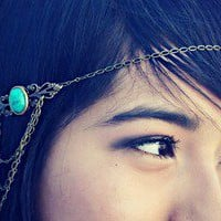 alapop — turquoise/green chain headband