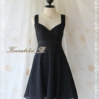 Sound Of Summer II - Sweet Elegant Spring Summer Lacy Sundress Black Color Thick Cotton Lace Party Wedding Cocktail Dress
