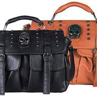THEO Gothic Skull Studded Messenger Shoulder Bag Top Handle Satchel Handbag Purse - 2 color option