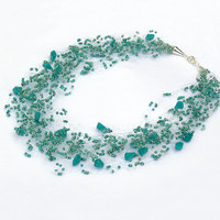 Blue Green Necklace. Teal  Necklace. Beadwork.  Multistrand Necklace.