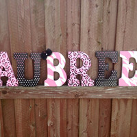 Pink cheeah zebra polka dot wall letters- Custom room decor- Name letters- pink ombra polka dots- childrens room decor