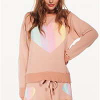 Wildfox Prism Heart Destroyed Sweater in Tan Line