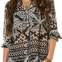 EIGHT SIXTY AFRICAN MOTIF BUTTONDOWN TOP | Swell.com
