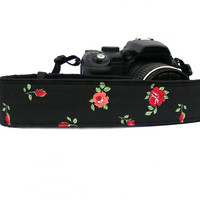 Floral Camera Strap.dSLR Camera Strap with Roses. Red and Black Camera Strap. Women accessories