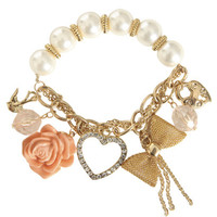 Pearl Rhinestone Charm Bracelet | Shop Jewelry at Wet Seal