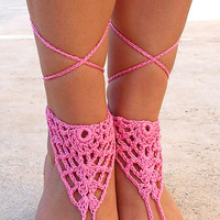 Barefoot sandals, pink crochet sandals. barefoot sandles,  crochet barefoot sandals, jewelry for the foot